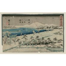 Utagawa Hiroshige: Eight Views of the Sumida River: Twilight Snow at Mimeguri (Sumidagawa hakkei, Mimeguri bosetsu), from the series Famous Places in Edo (Tôto meisho no uchi) - Museum of Fine Arts