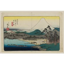 歌川広重: Ferry Boats on the Fuji River in Suruga Province (Sunshû Fujikawa watashibune no zu), from the series Famous Places in Our Country (Honchô meisho) - ボストン美術館