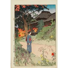 吉田博: Hundred Flower Garden [in Autumn] (Hyakkaen no aki), from the series Twelve Scenes of Tokyo (Tôkyô jûni dai) - ボストン美術館