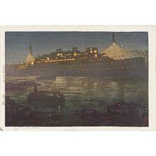 吉田博: Night in the Harbor (Minato no yoru) - ボストン美術館