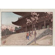 吉田博: Chion-in Temple Gate (Bai mon), from the series Sakura hakkei - ボストン美術館