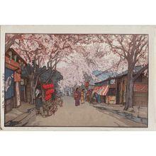 Yoshida Hiroshi: Avenue of Cherry Trees (Hanazakari [Cherry Trees in Full Bloom]), from the series Eight Scenes of Cherry Blossoms (Sakura hachidai) - Museum of Fine Arts