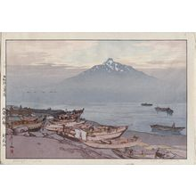Yoshida Hiroshi: Hok'kai Ha Sei. Rishiri San. Calm waves in Hok'kai (do). Rishiri Mountain. - Museum of Fine Arts