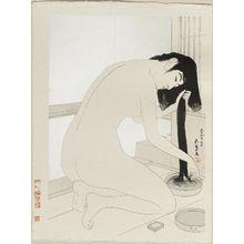橋口五葉: Woman Washing Her Hair - ボストン美術館