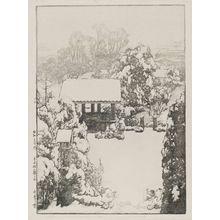 吉田博: Snow at Nakazato (Nakazato no yuki), from the series Twelve Scenes of Tokyo (Tôkyô jûni dai no uchi) - ボストン美術館