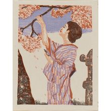 Onchi Koshiro: Lady in Pink and Violet Kimono - Museum of Fine Arts