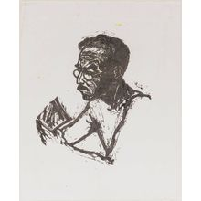 Onchi Koshiro: Portrait of Ishii Tsuruzo, drawn from life on a summer day (Ishii sensei, Natsu hi shasei zo) - Museum of Fine Arts