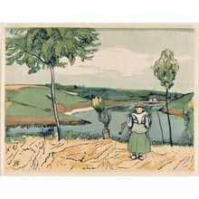 山本鼎: Dutch girl in landscape - ボストン美術館