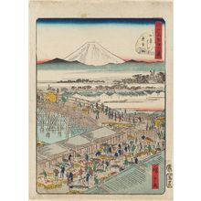 Utagawa Hiroshige II: No. 1, Fish Market at Nihonbashi (Nihonbashi uoichi), from the series Forty-Eight Famous Views of Edo (Edo meisho yonjûhakkei) - Museum of Fine Arts