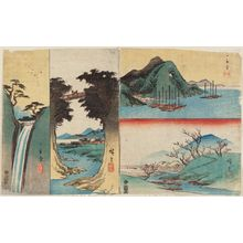 Utagawa Hiroshige: Harimaze sheet with four landscapes: Harbor with Boats (top right), Plum Garden at Sugita (bottom right), Monkey Bridge (center left), Waterfall (left) - Museum of Fine Arts
