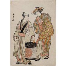 勝川春章: Actors Matsumoto Kôshirô IV as Ikazuchi Tsurunosuke and Segawa Kikonojô III as Nuregami no Kashizuka - ボストン美術館