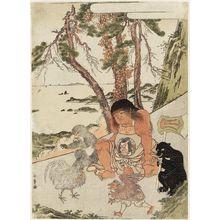 Katsukawa Shunsho: Kintaro with Bear and Monkey Watching a Rooster and Tengu Fight - Museum of Fine Arts
