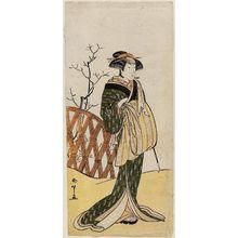 勝川春章: Actor Nakamura Riko as Chôbei's Wife Omaki - ボストン美術館