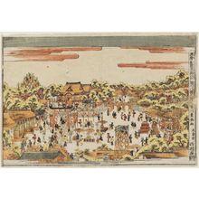 歌川豊春: Fukagawa Hachiman Shrine in Edo (Edo Fukagawa Hachiman no zu), from the series Perspective Pictures of Japanese Scenes (Uki-e wakoku keiseki) - ボストン美術館