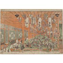 歌川豊春: Perspective Picture of a Dry Goods Store in Suruga-chô (Uki-e Suruga-chô gofukuya zu) - ボストン美術館