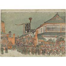 歌川豊春: Perspective Picture of a Festival Parade [Imitating a Korean Ambassador's Procession] in Edo (Uki-e Edo gosairei no zu) - ボストン美術館