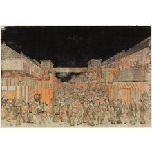 Utagawa Toyoharu: Perspective View of the Theaters in Sakai-chô and Fukiya-chô on Opening Night (Uki-e Sakai-chô Fukiya-chô kaomise yo shibai no zu) - Museum of Fine Arts