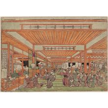 Utagawa Toyoharu: Perspective PIcture of a Grand Party in the New Yoshiwara (Uki-e Shin Yoshiwara sôshimai no zu) - Museum of Fine Arts