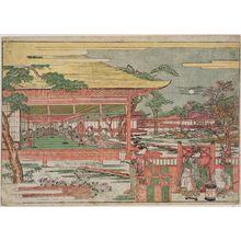 歌川豊春: Perspective Picture of the Concert of Ushiwakamaru and Jôruri-hime (Uki-e jûnidan kangen no zu) - ボストン美術館