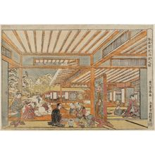 歌川豊春: Perspective Picture of a Snow-viewing Party (Uki-e yukimi shuen no zu) - ボストン美術館