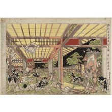 Utagawa Toyoharu: Perspective Picture of the Night Attack in Chûshingura (Uki-e Chûshingura youchi no zu) - Museum of Fine Arts