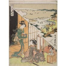 歌川豊春: The Third Month: The Doll Festival, Gathering Shellfish at Low Tide (Yayoi, Hinamatsuri, shiohi), from an untitled series of Day and Night Scenes of the Twelve Months - ボストン美術館