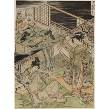 歌川豊春: The Tenth Month: Maple-leaf Viewing, Festival of Ebisu (Nagatsuki, Momijigari, Ebisu-kô), from an untitled series of Day and Night Scenes of the Twelve Months - ボストン美術館