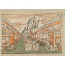 Utagawa Toyoharu: Motomachi. Korean procession in broad street; Mt. Fuji in distance - Museum of Fine Arts