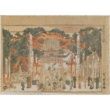 Utagawa Toyoharu: View of the Inari Shrine at Ôji (Ôji Inari no zu) - Museum of Fine Arts