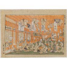 歌川豊春: Dry Goods Store at Motomachi (Motomachi Gofukuya) - ボストン美術館