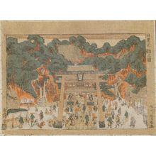 Utagawa Toyoharu: Fudô Hall at Meguro (Meguro Fudô no zu) - Museum of Fine Arts
