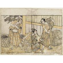 勝川春章: Actors Nakamura Nakazo as Sogoro, Ichikawa Monnosuke as Izutsunosuke - ボストン美術館
