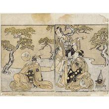 Katsukawa Shunsho: Actors Nakamura Nakazô as Matsukaze and Ichikawa Komazô as Yukihira (R), and Iwai Hanshirô V as Murasame (L) - Museum of Fine Arts