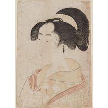 Kitagawa Utamaro: Large head of a girl holding a cup. - Museum of Fine Arts