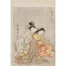 Kitagawa Utamaro: Ariwara Narihira and Ono no Komachi, from the series Five Colors of Love for the Six Poetic Immortals (Goshiki-zome Rokkasen) - Museum of Fine Arts