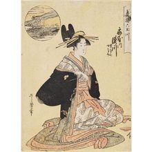 Kitagawa Utamaro: The Jewel River of Plovers (Chidori no Tamagawa): Takigawa of the Ôgiya, kamuro Onami and Menami (Ôgiya uchi Takigawa, Onami, Menami), from the series Six Jewel Rivers in the Pleasure Quarters (Seirô Mu Tamagawa) - Museum of Fine Arts