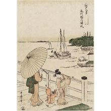 Kitagawa Utamaro: Returing Sails at Eitai Bridge (Eitai-bashi no kihan), from the series Eight Views of Edo (Edo hakkei) - Museum of Fine Arts