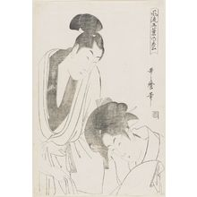 Kitagawa Utamaro: Lovers Parting in the Morning, from the series Elegant Five-Needled Pine (Fûryû goyô no matsu) - Museum of Fine Arts