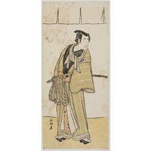 勝川春好: Actor with cloth tied around sword - ボストン美術館