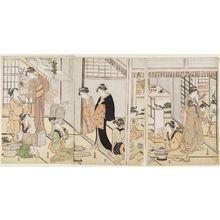 勝川春潮: Preparing the Seven Herbs (Nanakusa) on the Seventh Day of New Year - ボストン美術館