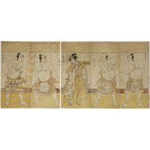 Katsukawa Shunsho: Actors as Sumô Wrestlers and Referee - Museum of Fine Arts