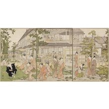 Torii Kiyonaga: Playing Games in the Garden of the Kankanrô in the Yoshiwara - Museum of Fine Arts