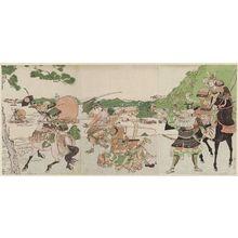 北尾政美: The Battle of Ichinotani - ボストン美術館
