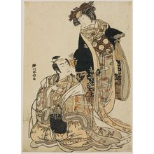 Katsukawa Shunko: Two actors from an unidentified play at the Ichimura Theater - Museum of Fine Arts