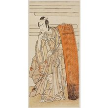 Katsukawa Shunjô: Actor leaning on tall board - ボストン美術館