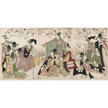 喜多川歌麿: Parody of the Story of Yoritomo Releasing Cranes at Yuigahama - ボストン美術館