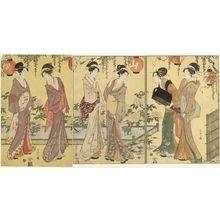 Hosoda Eishi: Women Admiring Peonies under a Wisteria Trellis - Museum of Fine Arts