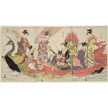 Hosoda Eishi: Women Playing Music in a Peacock Boat - Museum of Fine Arts