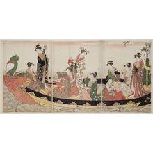 細田栄之: Women in a Phoenix Boat at New Year - ボストン美術館