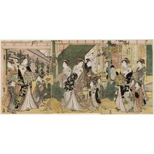 細田栄之: Courtesans Parading at New Year: Kisegawa of the Matsubaya, kamuro Takeno and Sasano (R); Takigawa of the Ôgiya, kamuro Menami and Onami (C); Tokiwazu of the Chôjiya, kamuro Toyoji and Toyoso (L) - ボストン美術館
